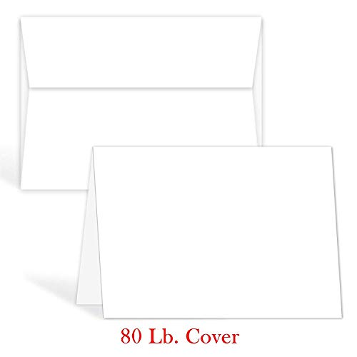 White Blank Greeting Fold Over Cards 80lb. Uncoated, 4 1/2 X 6 Inches Cards - 40 Foldover Greeting Cards Cards and Envelopes