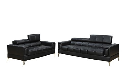 (Poundex Bobkona Sierra Bonded Leather 2 Piece Sofa and Loveseat Set, Black)