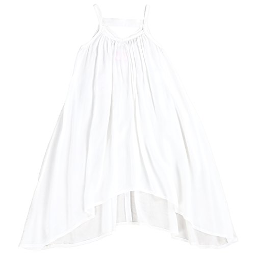 LELEFORKIDS - Toddlers and Girls Light Cotton Asymmetric Swing Away Dress in Beach White 2T
