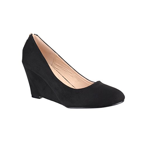 Elara Keilpumps Wedges   Damen Pumps mit Keilabsatz   Bequeme Schuhe Black Rome