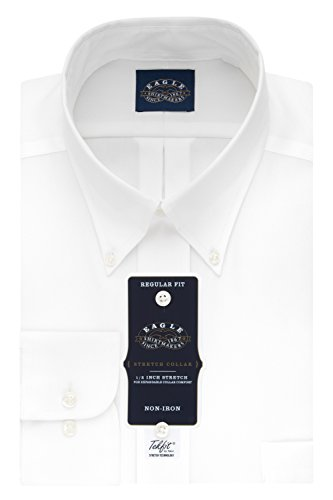 Eagle Men's Non Iron Stretch Collar Regular Fit Solid Buttondown Collar Dress Shirt, White, 18.5
