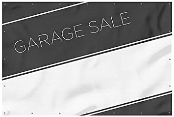 Garage Sale CGSignLab 12x8 Basic Black Heavy-Duty Outdoor Vinyl Banner