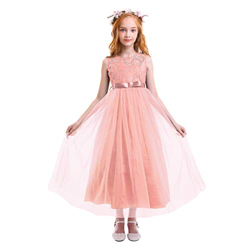 Big Girls Tulle Lace Dress Wedding Communion Evening Birthday Party Bowknot Dress Flower Girl Princess Dress Pink 14-15T