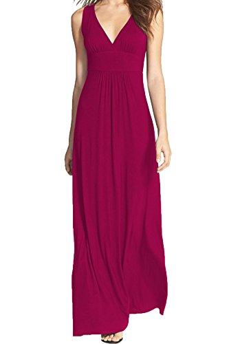 WOOSEA Women Sleeveless Deep V Neck Loose Plain Long Maxi Casual Dress (Magenta, Small)