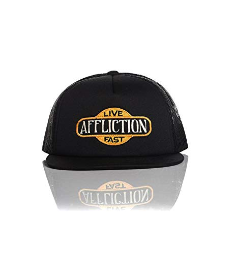Affliction Gas Hat Adjustable Snapback Mesh Trucker Cap Black A13930