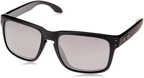 Oakley Men's OO9244 Holbrook Asian Fit Rectangular Sunglasses, Matte Black/Prizm Black Polarized, 56 mm (Oakley Asian Fit)
