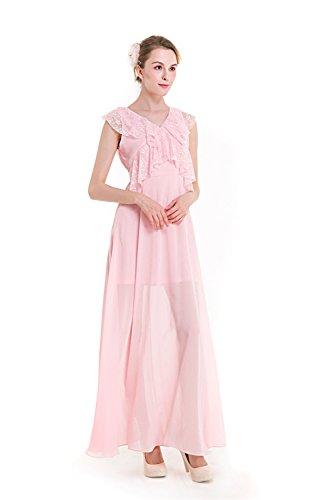 Mena Vestido de de del Pink falta color sólido V Cuello la la vendimia la de atractivo noche gasa UK 46 36 de rw5FCq4nr