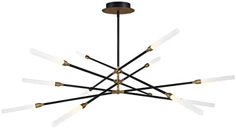 WAC Lighting PD-55912-BK AB DweLED Houdini 12 LED Pendant 3000K in Black and Aged Brass Light Fixture