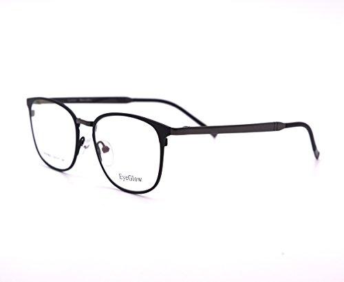 EyeGlow Oval Titanium Eyeglasses Frame Prescription Glasses Frame with Demo Lens Double Plating EGT6502 (Black Grey, Demo - Glasses Reading Titanium Online