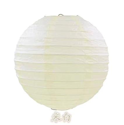 Papierlampenschirm, geriffelt, rund, 30 cm, Weiß / Bambus-Stil Weiß / Bambus-Stil West5Products