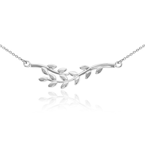 Polished 925 Sterling Silver Double Olive Branch Pendant Necklace, 18