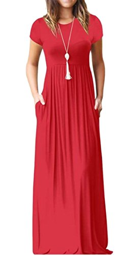 Crew 3 Color Casual Dresses Neck Solid with Maxi Women Summer Jaycargogo Pockets B4wqtPxnI