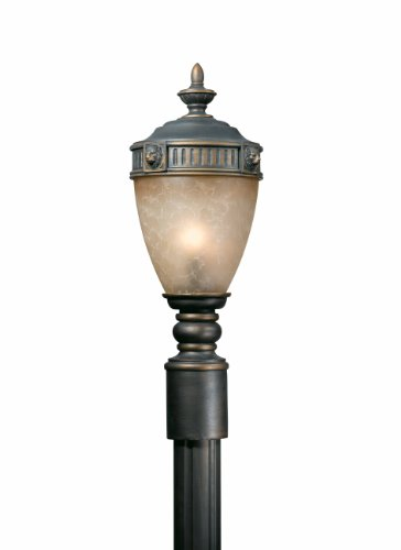 (Triarch International 75235-14 Lion 24IN 1LT CFL Post Mount Fixture, Oil Rubbed Bronze Finish with Hand-Blown Antiqued Cognac Glass)