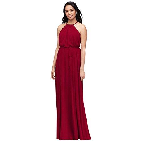 Soft Mesh Halter Bridesmaid Dress with Slim Sash Style F19533, Apple, 18