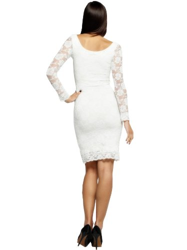 CC USA Women's Lois Long Sleeve Sheer Lace Party Knee Length Dress -Eetra Large - White