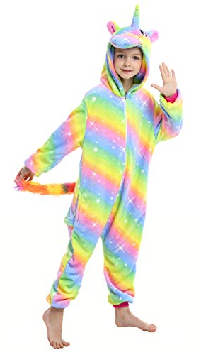 Ecparty Soft Unicorn Hooded Bathrobe Sleepwear for Kids Party Costume (Colorful Unicorns Rainbow Galaxy-13, 3-4T)