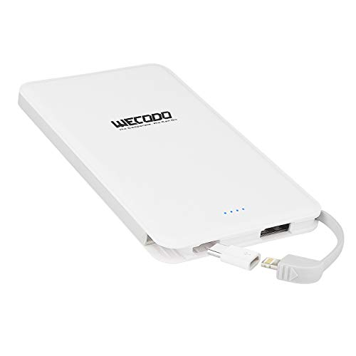 WECODO Slim Portable Charger 5000mAh Power Bank Built-in Cable Pocket External Battery Pack with LED Indicator Compatible iPhone iPad Samsung LG and More