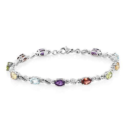 Shop LC Delivering Joy Oval Peridot Amethyst Topaz Citrine Garnet 5 Gemstone Tennis Bracelet Stainless Steel Jewelry for Women 7.25