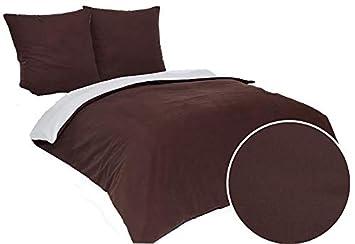 3 Tlg Flanell Biber Wende Bettwäsche Set Bettdeckenbezug 200x200 Cm Mit 2 Kopfkissenbezüge 80x80 Cm Braun Creme 3 Teilig Bettgarnitur