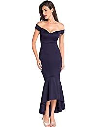 Womens Fishtail Long Evening Dress Off Shoulder Party Dress