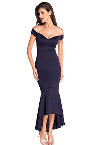 Astylish Womens Evening Dress Off Shoulder Flouncing Mermaid Formal Prom Gowns Large Navy from Astylish