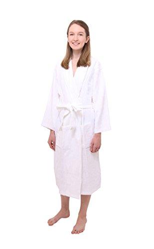 Don Sknarinyon 100% Cotton White Long Bath Robe For Men   Women ... 457dec26e