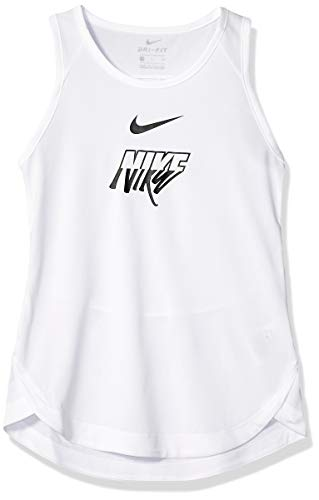 NIKE Girl's Nike Trophy Breathe Gx Tank, White/Black, Large (Tops Girls Nike Tank)