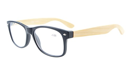 Eyekepper Readers Wide 80's Spring Hinges Bamboo Wood Temples Eyeglasses Black ()