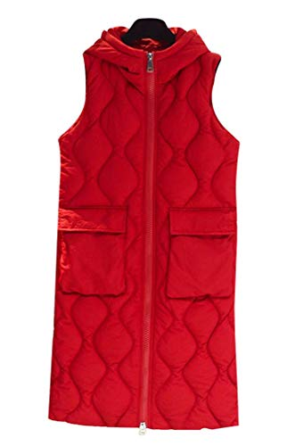 Yasong Women Long Hooded Padded Puffer Quilted Vest Gilet Bodywarmer Sleeveless Jacket Red
