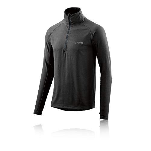 Marle Zip - Skins Activewear Unden Light Midlayer Mens L/s Fleece 1/2 Zip Char, Charcoal Marle, Large