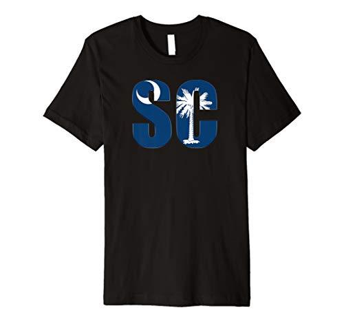 South Carolina SC State Flag Letter Premium T-Shirt