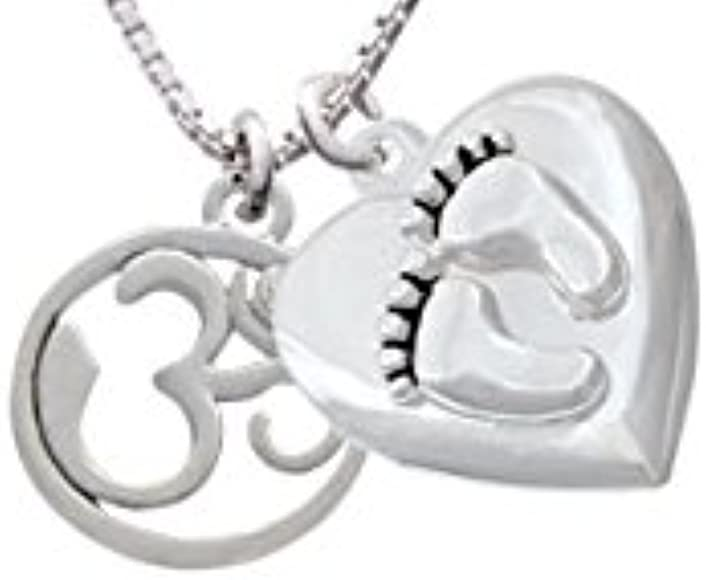 Godmother Infinity Sign Custom Engraved Baby Feet Heart Locket Necklace