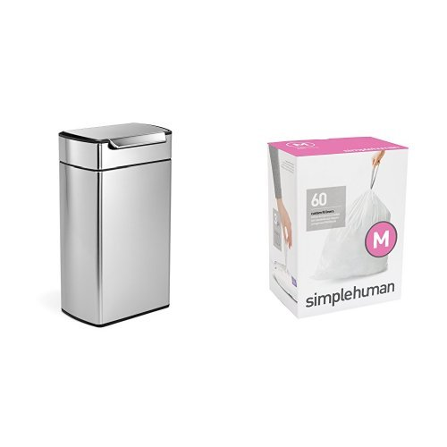 simplehuman 40 litre rectangular touch-bar can fingerprint-proof brushed stainless steel + code M 60 pack liners