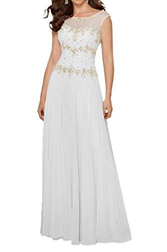 Partykleider Braut Weiß Lemon Abendkleider Brautmutterkleider mia Elegant Chiffon mit A La Langes Gruen Linie Rock Steine 5Z8nnqA