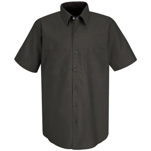 Red Kap Men's Industrial Short-Sleeve Work Shirt,Charcoal, (Industrial Shop)