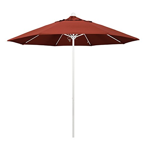 California Umbrella 9' Round Aluminum/Fiberglass Umbrella, Push Open, White Pole, Sunbrella Henna Fabric