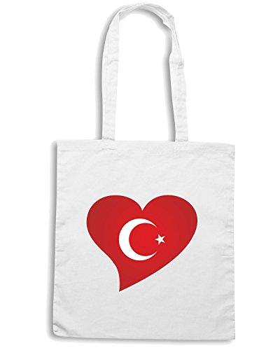 T-Shirtshock - Bolsa para la compra TM0254 turk flag heart turk bayragi kalpte flag Blanco