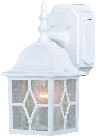 Galeana Textured White 12.5 Outdoor Wall Light w GFCI Outlet