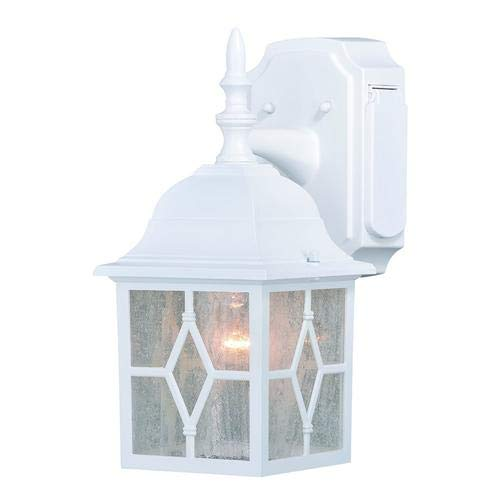 "Galeana Textured White 12.5"" Outdoor Wall Light w/GFCI Outlet"