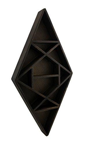 Pyramid Shelving - Wood Hanging Shelves Dark Brown Wooden Geometric Diamond Shaped Crystal Display Shelf 10.75 X 21.5 X 2 Inches Brown