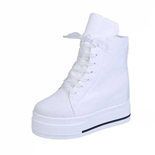 New Thick-Soled high-top Canvas Shoes with Martin Boots and a high-Rise Bootie(White Lable 37/6.5 B(M) US -