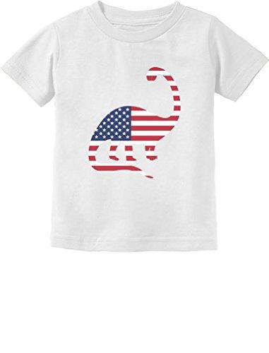 USA Dinosaur American Flag 4th of July Gift Toddler/Infant Kids T-Shirt 3T White ()