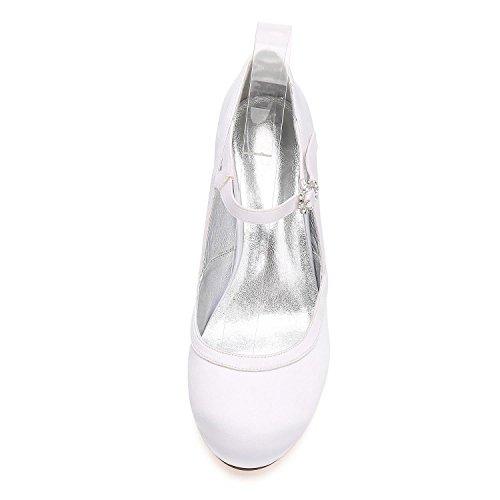 Elegant high shoes hebillas de Flores de Satén de Las Mujeres Bow Plataforma Tacones Altos G-17061-43 Cerrado Dedos de Los Pies Zapatos de Boda Purple