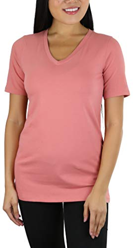 ToBeInStyle Women's Cotton Blend V-Neck Relaxed Fit T-Shirt - Ash Rose - L (Grey T-shirt Rose Ash)