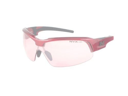 Shooting Glasses Vermilion Lenses - NYX Sport Vision PRO Z-17 Series Sunglass with Z87.1 Safety Rating, Red-Black Frame/Light Vermilion Safety Lens, Medium