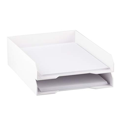 JAM PAPER Stackable Paper Trays - White - Desktop Document, Letter, File Organizer Tray - 2/Pack