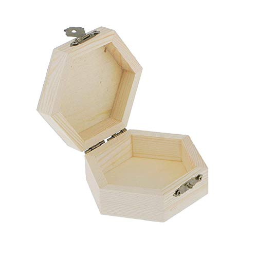 Potelin Hexagonal Gift Box Hexagonal Jewelry Box Wooden Jewelry Case Wooden Storage Box Unpainted Wood Case For Jewelry Craft