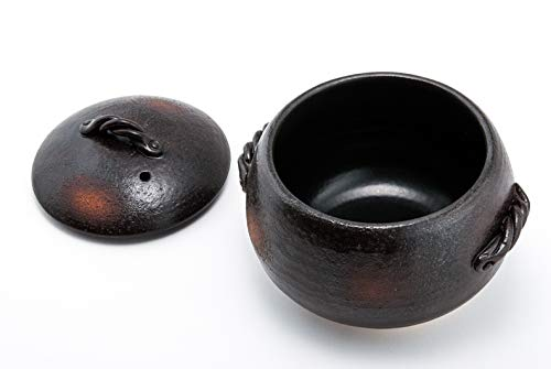 Hinomaru Collection Misuzu Pottery Banko Ware Heat Resistant Glazed Earthenware Rice Pot Cooker 3 Cups Round Pot Lidded Donabe Casserole Rice Cooker Made in Japan