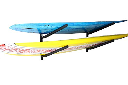 (SPAREHAND Double Wall Mount Rack with Angled Padded Arms for 2 Surfboards or SUP Paddle Boards)