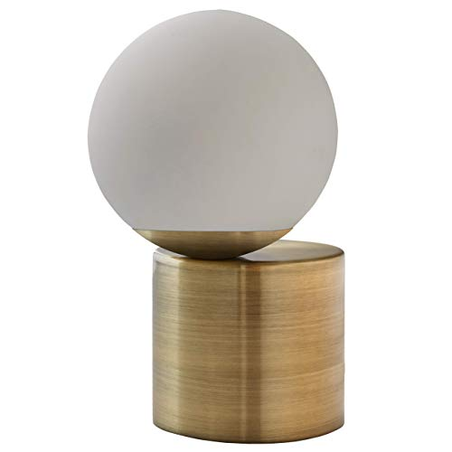 Rivet Modern Glass Globe Living Room Table Desk Lamp With LED Light Bulb – 7 x 10 Inches, Brass Finish